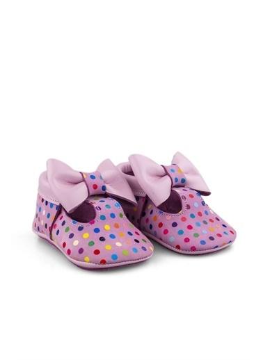 Cici Bebe Ayakkabı Puanlı Deri Kız Çocuk Makosen Pembe